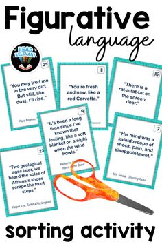 Figurative language activity that is sure to get your kids thinking and talking about similes, metaphors, personification, hyperbole, and onomotapoeia. A fun activity to reinforce and assess! Middle School Ela, Middle School English, Middle School Teachers, High School, Sorting Activities, Language Activities, Figurative Language Activity, Similes And Metaphors, 8th Grade Ela