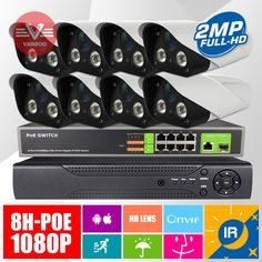 Find More Surveillance System Information about 8pcs 2MP 1920*1080P IR Night Vision Power Over Ethernet Security Camera  8CH POE Switche + 8CH H.264 ONVIF NVR System,High Quality camera 6,China camera protector Suppliers, Cheap camera digital canon 7d from VanBoo Security Technology co.,ltd. on Aliexpress.com