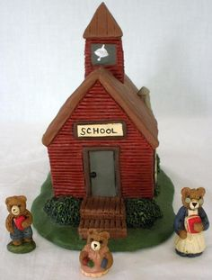 1980's Carolyn Carpin The Storybook Collection School House With Bears- 4 Pieces