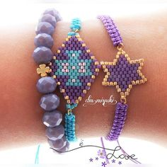 - Weekend I love💜💜💓 ✨en sevilenlerden mor. Bead Embroidery Jewelry, Beaded Jewelry Patterns, Bracelet Patterns, Beaded Embroidery, Beading Patterns, Seed Bead Bracelets, Beading Projects, Girls Jewelry, Bead Art