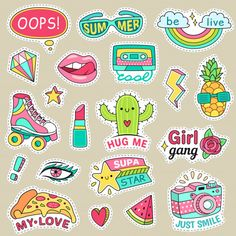 Cute cartoons patches food rainbow retro stuff and motivation words doodle icon for teenager happy girl. Stickers Cool, Tumblr Stickers, Printable Stickers, Planner Stickers, Doodle Icon, Doodle Art, Word Doodles, Aesthetic Stickers, Sticker Design