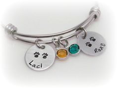 Make one special photo charms for your pets, 100% compatible with your Pandora bracelets.  Custom Pet Name Bangle Personalized Pet Names Cat by tkiDesigns