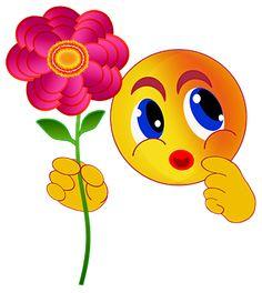 Emoticonos, Smiley, Flor, Regalo