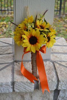 Sunflower Wedding Bouquet, Silk Wedding Flowers, Orange Camo Bouquet, Southern Wedding, Bridal Bouquet, Hunters Bouquet, Southern Bouquet