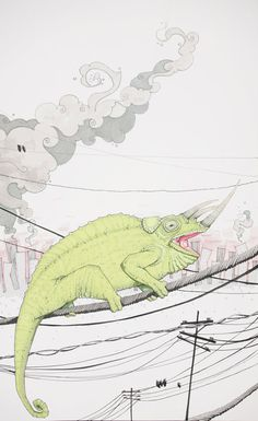 art print green chameleon on a telephone wire by BriannaReaganArt, $72.00