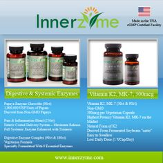 Improve your overall health and quality of life by adding Innerzyme to your daily regimen. Learn more at http://www.innerzyme.com/ #health #innerzyme #enzymes #vitamins #k2 #natural #supplements #healthtips #nutrition #lifestyle #digestion #hearthealth #brainfunction #bloating #gas #heartburn #digestive #enzyme
