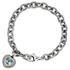 Versil Shey Couture Sterling Silver and 14k Gold 6 2/5ct Swiss Blue Topaz 7.5-inch Heart Bracelet (Sterling Silver), Women's, Size: 7.5 Inch (solid)