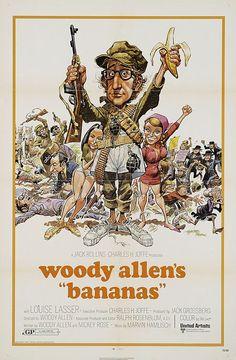 """Pôster original de 1971 do filme de Woody Allen """"Bananas"""".  Veja também: http://semioticas1.blogspot.com/2011/08/semioticas-o-bruxo-e-critica.html"""