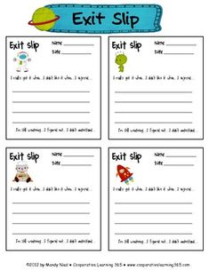 FREE! These Space themed exit slips can be used for any subject.    Each slip includes six prompts to guide students in what to write.  Mandy Neal ~ ...