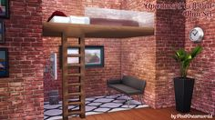 """Apartment Loft Bed - A Mini Set By PixelDreamworldInspired by the newest EP I finally got round to making a double version of a loft bed. • New mesh - Standalone version with legs """"10 swatches """" • New..."""
