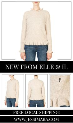 This is the 'Valeria' Granola Alpaca Sweater by stunning brand, Elle & Il. This gorgeous piece features a ruffle hem and neck, an easy fit, and lovely feel. This is the perfect piece to carry you into the colder season! Granola, Shop Now, Pullover, Fitness, Easy, Clothing, Sweaters, Shopping, Collection