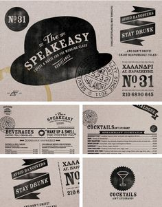 Typeeasy The Speakeasy brand identity Brand Identity Design, Corporate Design, Graphic Design Typography, Graphic Design Illustration, Identity Branding, Visual Identity, Corporate Identity, Web Design, Layout Design