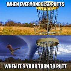 Golf Quotes Disc golf putting and Murphy's Law go hand-in-hand no matter which disc golf putter you choose! Is this Disc Golf humor, or a lesson in pain? Disc Golf Scene, Golf Gadgets, Putt Putt Golf, Golf Handicap, Golf Bags For Sale, Golf Putting Tips, Golf Chipping, Golf Putters, Golf Tips For Beginners