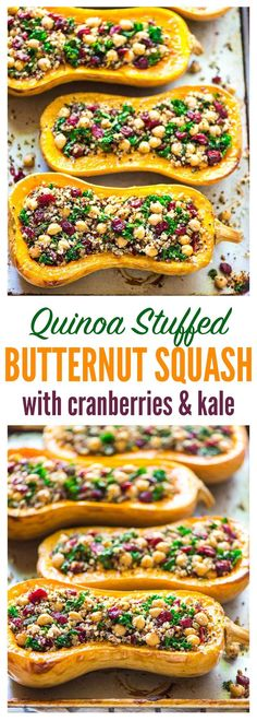 Delicious, healthy Stuffed Butternut Squash with Quinoa, Cranberries, Kale, and Chickpeas. Easy vegetarian recipe that's perfect for fall!