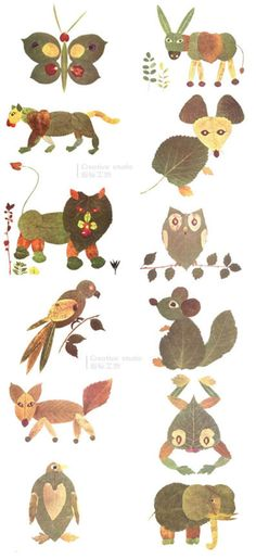 leaves Animals - Fall Crafts For Kids Autumn Crafts, Fall Crafts For Kids, Autumn Art, Projects For Kids, Diy For Kids, Art Projects, Christmas Crafts, Leaf Crafts, Bird Crafts