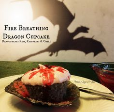 Fire Breathing Dragon Cupcake - Dragon Berry Rum, Raspberry, Chili Pepper & Lemongrass.  Game of Thrones Cocktails & Cupcakes Series by Booze Sugar & Spice