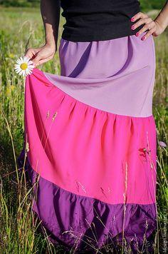 Купить трёхъярусная юбка - юбка длинная, юбка в пол, трёхъярусная юбка, разноцветная юбка