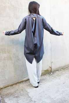 Blue Extravagant Shirt / Loose Cotton Top/ Asymmetric by Fraktura