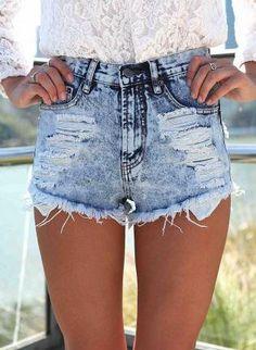 Acid Wash Denim Cutoff Shorts