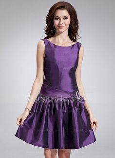 Cocktail Dresses - $98.29 - A-Line/Princess Scoop Neck Knee-Length Taffeta Cocktail Dress With Sash Bow(s) (016008841) http://jenjenhouse.com/A-Line-Princess-Scoop-Neck-Knee-Length-Taffeta-Cocktail-Dress-With-Sash-Bow-S-016008841-g8841