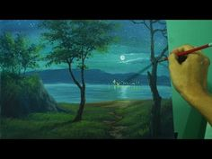 Acrylic Landscape Painting Lesson - Moonlight Over the Sea by JM Lisondra - YouTube