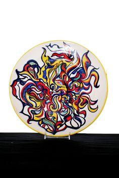 TORTOLA. Piatto in ceramica,decorato a mano,decorazione originale,pezzo unico,made in Italy