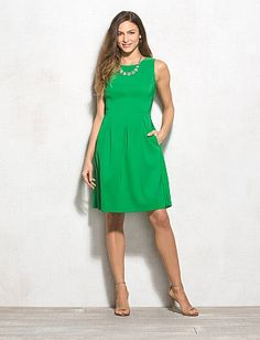 Solid Pleated Dress   $42.00