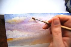 Sky Tutorial (Part 1): Step by step instructions for painting a watercolor sky.