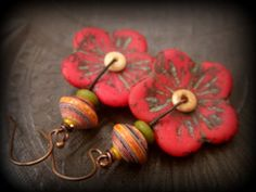 Nicaraguan Paper Beads and Glass Flower Earrings by YuccaBloom, $32.00