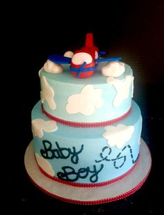 Airplane theme Baby Shower Cake
