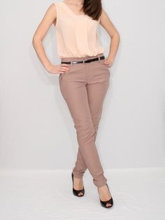Womens Skinny Pants Summer Taupe Pants by KSclothing on Etsy, $29.00
