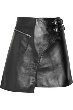 dang. i could die.     Joseph | Frank leather kilt-style mini skirt | NET-A-PORTER.COM