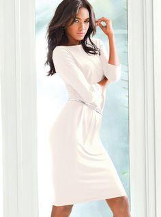 Victoria's Secret White Boatneck Crossback Dress