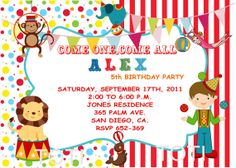 Circus Invitations   Birthday Party  Baby Shower by TOTI67 on Etsy, $12.00