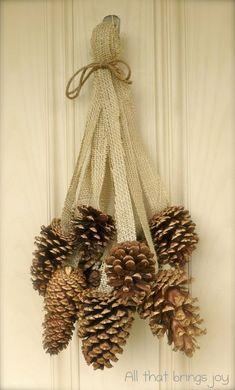 61 Ideas For Diy Christmas Decorations Wreaths Pine Cones Noel Christmas, Rustic Christmas, Christmas Wreaths, Christmas Ornaments, Winter Wreaths, Christmas Ribbon, Spring Wreaths, Primitive Christmas, Winter Christmas
