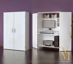 Computer Cupboard Cabinet Hideaway Desk in White / White Highgloss | eBay