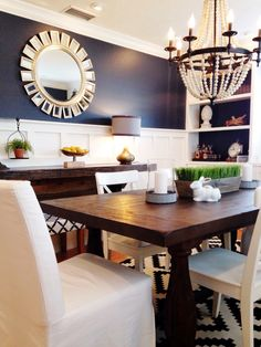 Hale Navy and board and batten dining room!