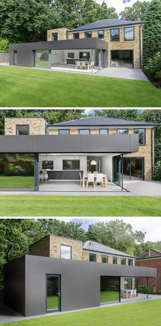 14 Examples Of British Houses With Contemporary Extensions // A dark clad extension houses a bright white kitchen that connects with the rest of the home and the garden just outside.
