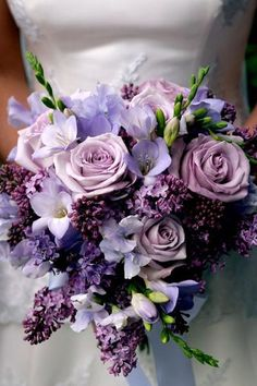 Combine various flowers in shades of violet for a gorgeous look.
