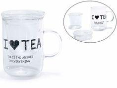 Tisaniera 'I love Tea' in vetro con filtro e coperchio  Ø 8 cm x 12,5 H Capacità: 150 ml