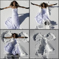 "Cool idea for a Winter ""Trash the Dress"" Photo Shoot. Definitely not for the wedding day!"
