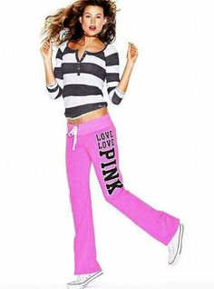 Have this outfit, love the bright color orchid of these sweatpants.