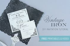DIY Tutorial: FREE Printable – Vintage Iron Wedding Invitation and Pocket PLUS Enter to Win 250 Doilies Featured in the Tutorial.