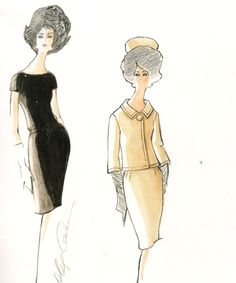 Jackie Dress Sketches by Oleg Cassini 60s Vintage Clothing, Antique Clothing, Vintage Outfits, Vintage Fashion, Dress Sketches, Fashion Sketches, Fashion Drawings, Fashion Illustrations, Jacqueline Kennedy Onassis