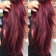 Pink-Red with Yellow Highlights - 20 Cool Styles with Bright Red Hair Color (Updated for - The Trending Hairstyle Bright Red Hair, Dark Red Hair, Burgundy Hair, Purple Hair, Cherry Red Hair, Brown Hair, Hair Tips Dyed Red, Dyed Hair, Short Red Hair
