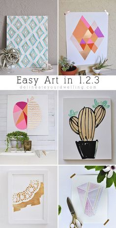 Are you following this Easy Art in 1.2.3. series?  It's so fun and easy step by step directions on how to make colorful art for your home! Delineateyourdwelling.com
