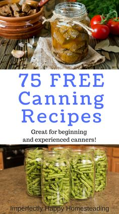 75 Free Canning Recipes for Beginning and Veteran Canners 75 Free Canning Recipes for beginning and experienced canners. Canning meats, sauces, jams, fruit and more. All FREE! Home Canning Recipes, Canning Tips, Pressure Canning Recipes, Canning Food Preservation, Preserving Food, Real Food Recipes, Cooking Recipes, Meat Recipes, Jelly Recipes
