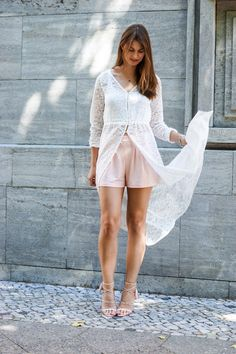 Perfect Summer Outfit  #whaelse #fashionblog #modeblog #streetstyle #fashion #inspiration #outfit #summer #lace #cardigan #dress #laceup #highheels #culotteshorts