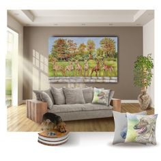 Faraoh Hounds. Large size oil painting in the home interior.