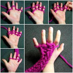 ZUT! Encore de la neige! Il n'est pas trop tard pour tricoter encore un peu avant que le printemps arrive! Apprenez aux petits à tricoter avec les doigts. Ils seront capable eux aussi! Ilspourront tricoter avec vous, c'est une bonne façon de travail